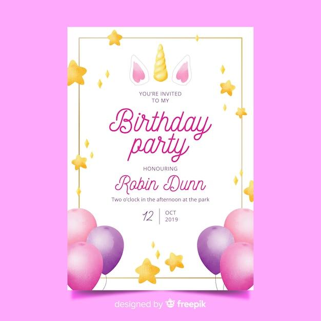 Modello dell'invito di compleanno dell'acquerello Vettore gratuito