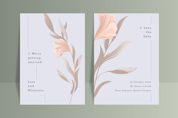 Modello dell'invito di nozze con il fiore Vettore gratuito