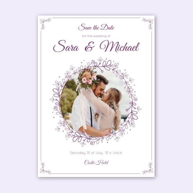 Modello dell'invito di nozze con l'immagine Vettore gratuito