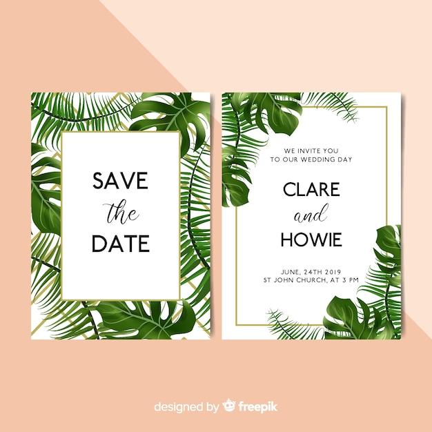 Modello dell'invito di nozze delle foglie di palma realistico Vettore gratuito