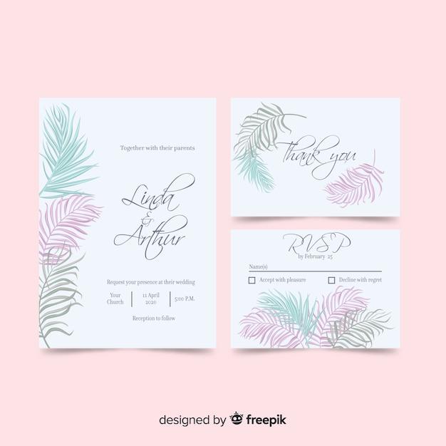 Modello dell'invito di nozze delle foglie di palma Vettore gratuito