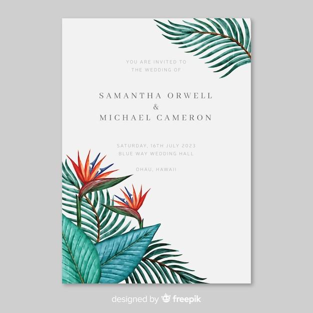 Modello dell'invito di nozze delle foglie tropicali dell'acquerello Vettore gratuito