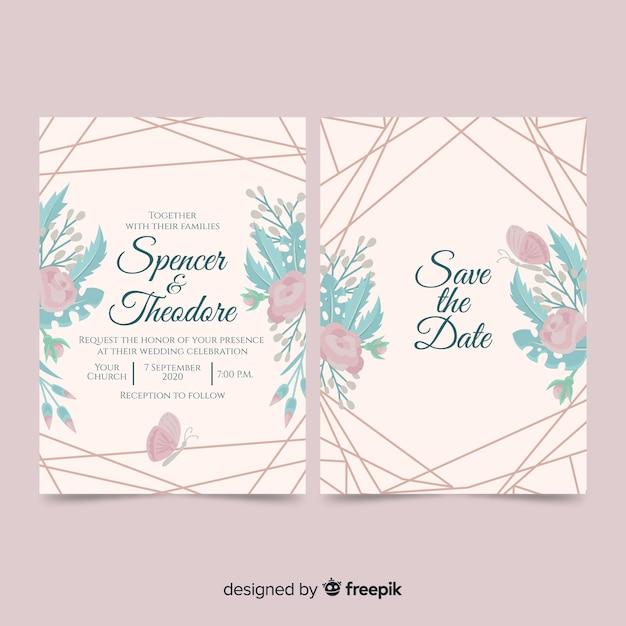 Modello dell'invito di nozze di linee e fiori Vettore gratuito