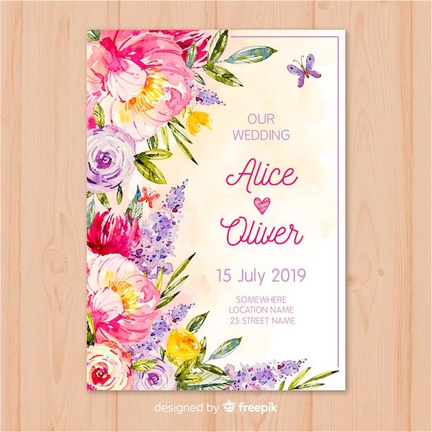 Modello dell'invito di nozze fiori dell'acquerello Vettore gratuito