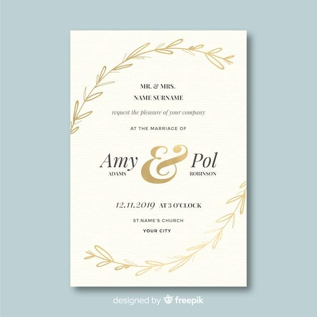 Modello dell'invito di nozze nella progettazione piana Vettore gratuito