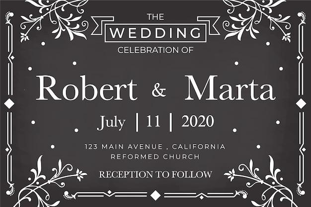 Modello dell'invito di nozze sulla lavagna Vettore gratuito