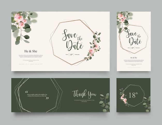 Modello dell'invito di nozze Vettore Premium