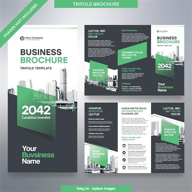 Modello dell'opuscolo di affari nel layout ripiegabile. opuscolo corporate design con immagine sostituibile. Vettore Premium