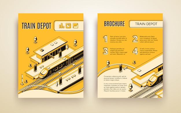 Modello dell'opuscolo di vettore per il deposito di treno. veicolo isometrico 3d sulla ferrovia e sulla stazione Vettore gratuito