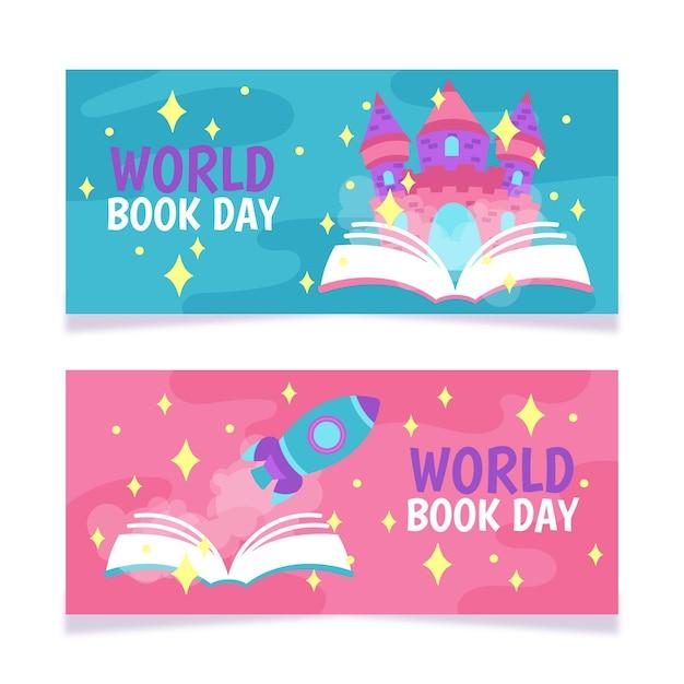 Modello della bandiera con la giornata mondiale del libro Vettore gratuito