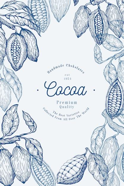 Modello della bandiera dell'albero di fave di cacao. fave di cacao al cioccolato. illustrazione disegnata a mano illustrazione stile vintage. Vettore Premium