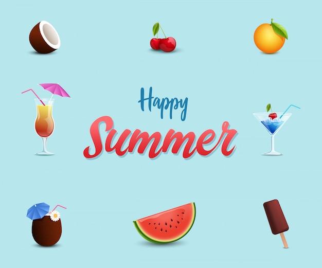 Modello della bandiera di beach cafe. dolci dessert estivi, anguria, gelato, ciliegie Vettore Premium