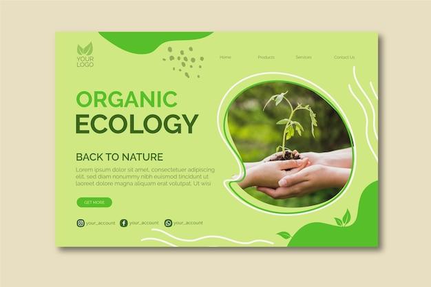 Modello della bandiera di ecologia organica Vettore gratuito