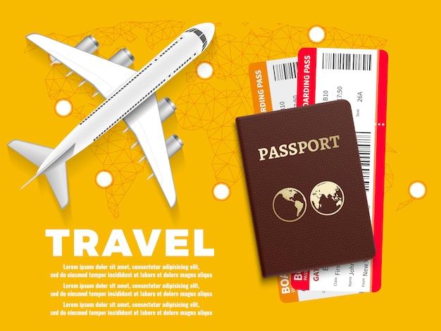 Modello della bandiera di viaggio æreo con la mappa di mondo dell'aereo ed il passaporto - progettazione di massima di vacanza Vettore Premium