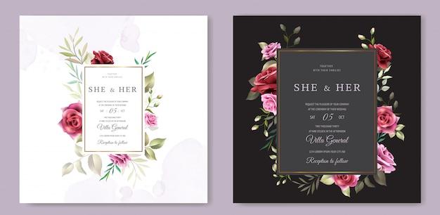 Modello della carta dell'invito di nozze della corona floreale Vettore Premium