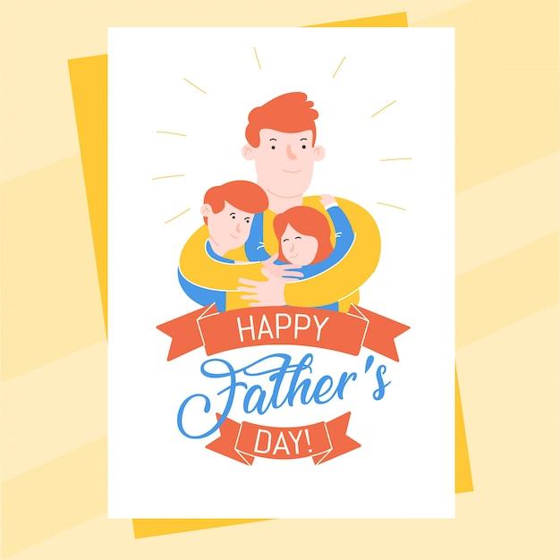 Modello della cartolina di festa del papà con il padre che abbraccia il suo figlio e sua figlia Vettore Premium
