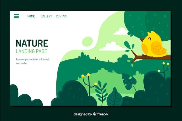 Modello della pagina di destinazione con il concetto di natura Vettore gratuito