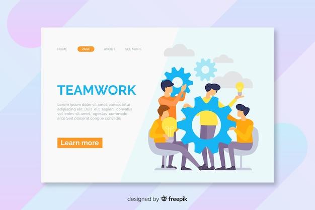 Modello della pagina di destinazione del lavoro di squadra di affari Vettore gratuito