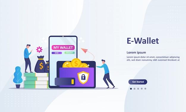 Modello della pagina di destinazione del trasferimento di denaro al concetto di portafoglio elettronico Vettore Premium