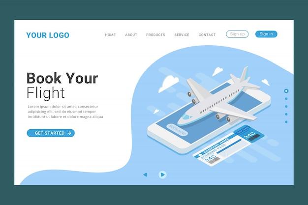 Modello della pagina di destinazione della prenotazione online del biglietto di volo Vettore Premium