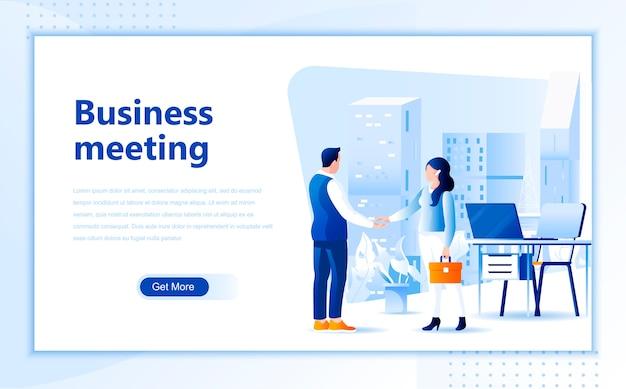 Modello della pagina di destinazione della riunione d'affari della homepage Vettore Premium