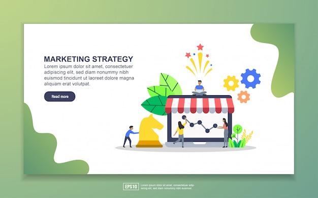 Modello della pagina di destinazione della strategia di marketing. concetto di design moderno piatto di design della pagina web per sito web e sito web mobile Vettore Premium