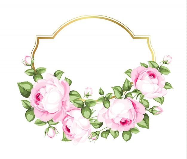 Modello della partecipazione di nozze con le rose di fioritura e testo su ordinazione isolato sopra fondo bianco. Vettore Premium