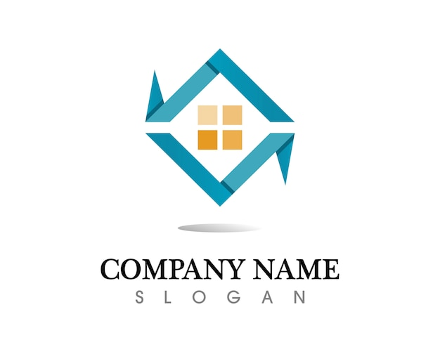 Modello delle icone di logo di costruzioni immobiliari e casa Vettore Premium