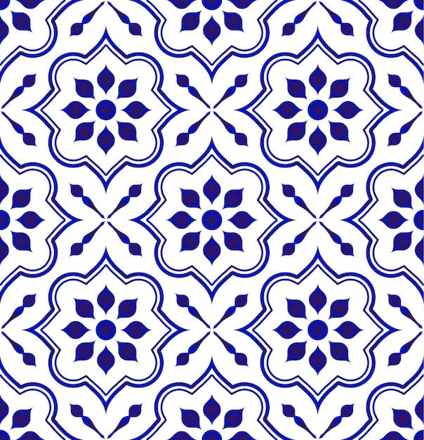 Modello delle mattonelle di ceramica, fondo decorativo della porcellana Vettore Premium