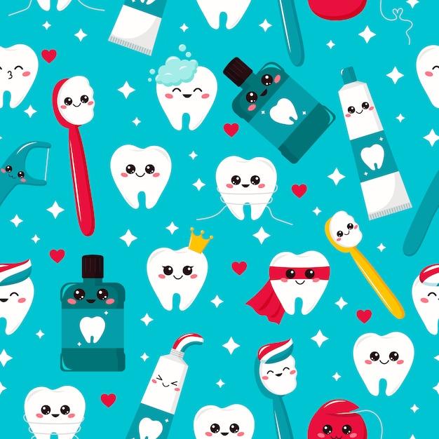 Modello dentale senza soluzione di continuità infantile. dente kawaii, dentifricio, spazzolino da denti, collutorio e filo interdentale. personaggi dei cartoni animati. igiene. Vettore Premium