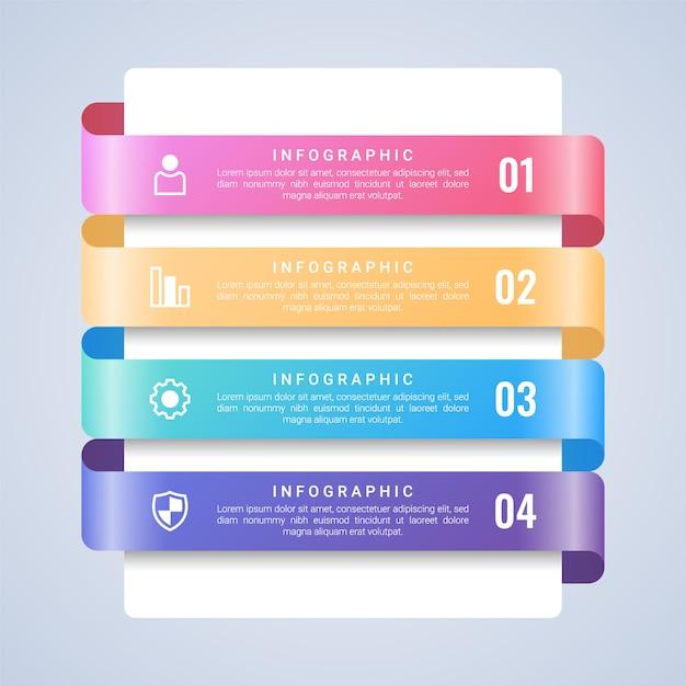 Modello di affari 3d colorato infografica Vettore Premium