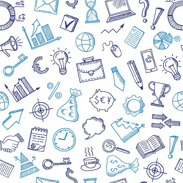 Modello di affari con le icone di doodle Vettore Premium