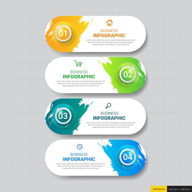 Modello di affari infografica con quattro passaggi Vettore Premium