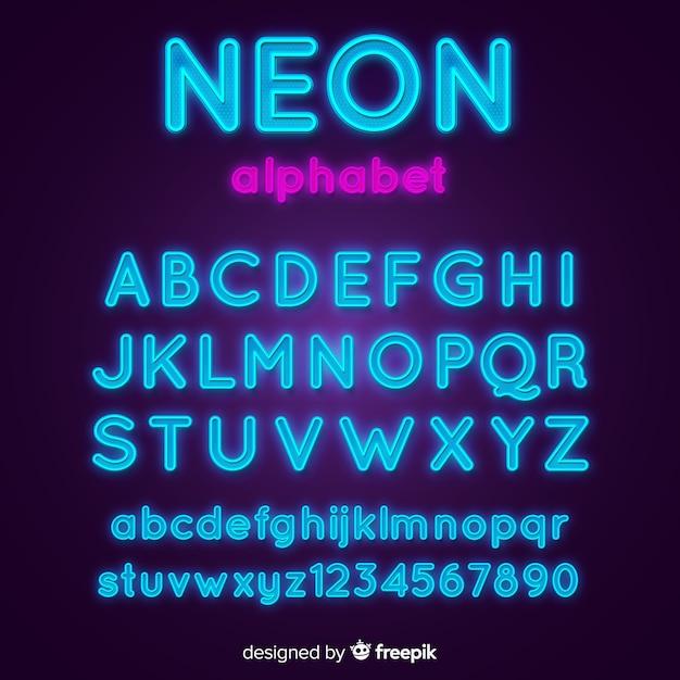 Modello di alfabeto al neon Vettore gratuito