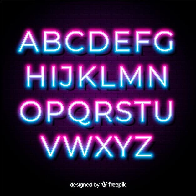 Modello di alfabeto bicolore al neon Vettore gratuito