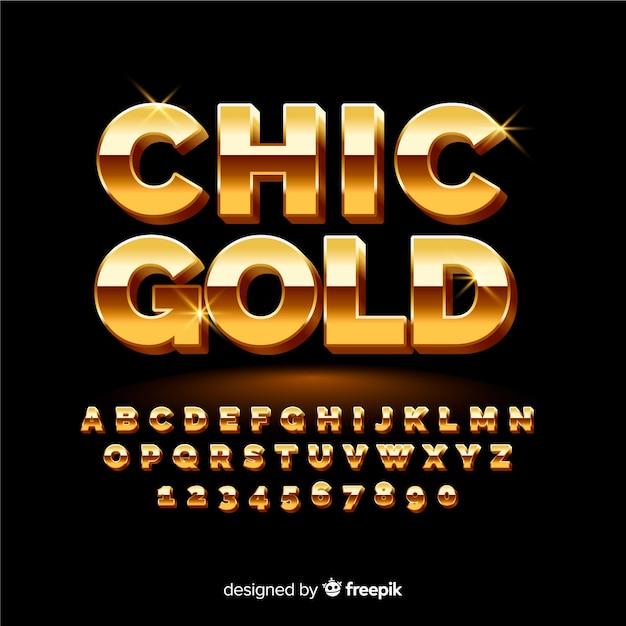 Modello di alfabeto d'oro Vettore gratuito
