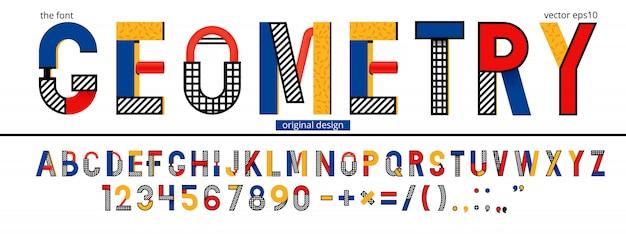 Modello di alfabeto geometrico di memphis Vettore Premium