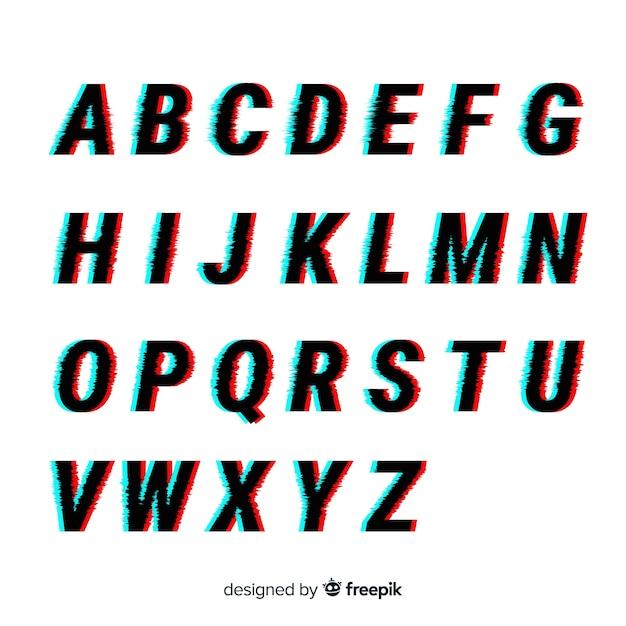 Modello di alfabeto glitch Vettore gratuito