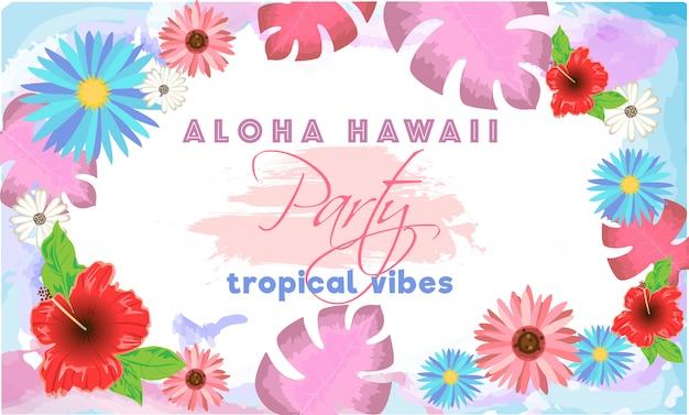 Modello di aloha hawaii party Vettore Premium
