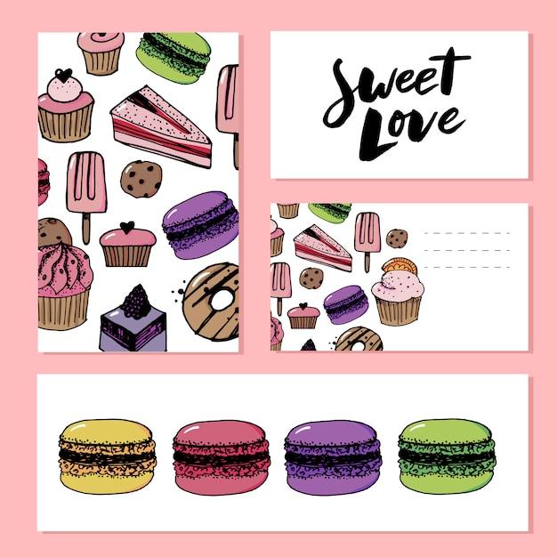 Modello di amore dolce Vettore Premium