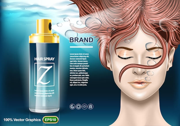 Modello di annunci per la protezione dei capelli Vettore Premium