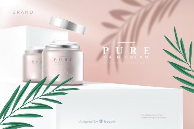 Modello di annuncio di crema naturale realistica Vettore gratuito