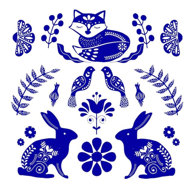 Modello di arte popolare scandinava con uccelli e fiori Vettore Premium