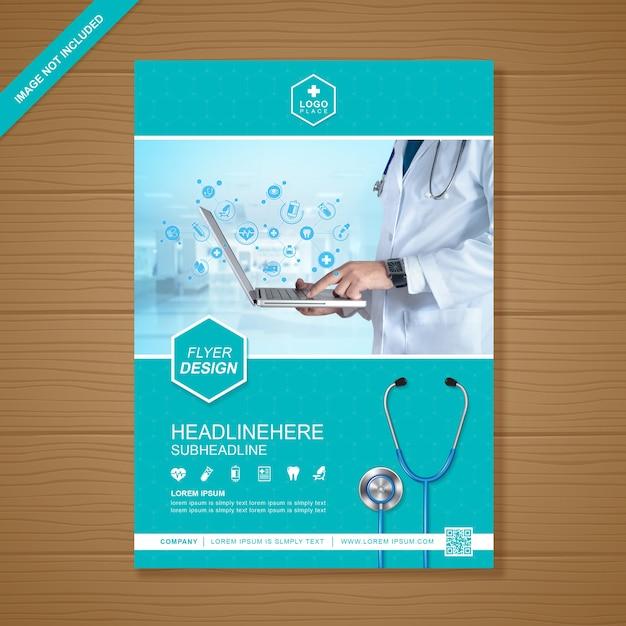 Modello di assistenza medica e flyer medico Vettore Premium