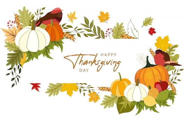 Modello di auguri felice giorno del ringraziamento con verdure e foglie colorate. Vettore Premium