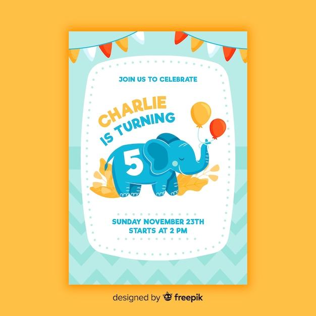Modello di bambini invito compleanno Vettore gratuito