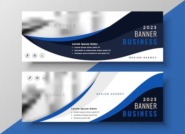 Modello di bandiera blu business ondulato Vettore gratuito