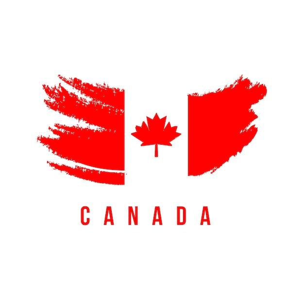 Modello di bandiera del pennello bandiera del canada Vettore Premium