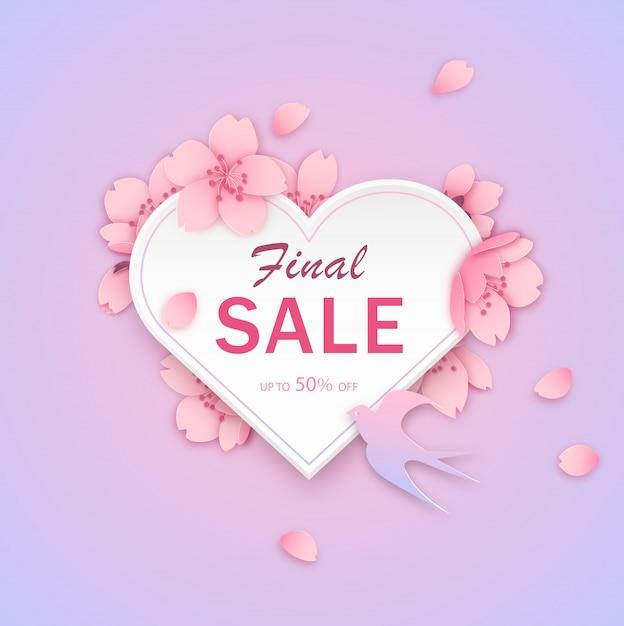 Modello di bandiera di vendita, cuore con disegno di fiori Vettore Premium