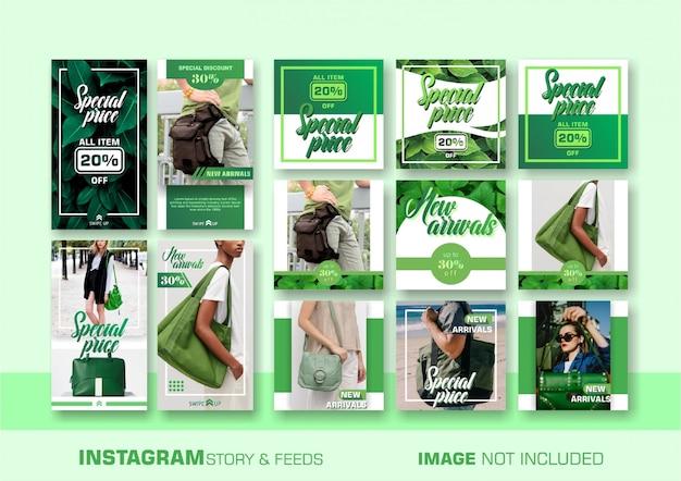 Modello di bandiera verde vendite Vettore Premium
